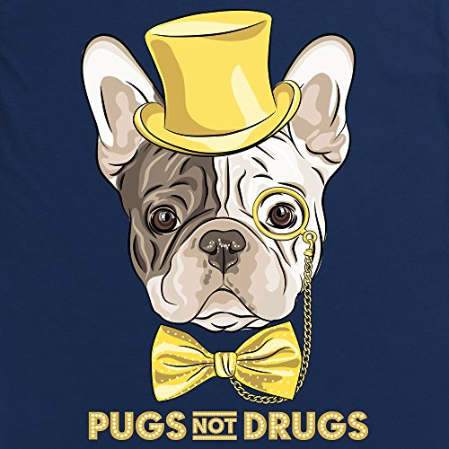 Pugs Not Drugs Illustration T-Shirt, Herren Dunkelblau
