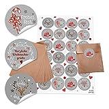 24 braune kleine Papier-Tüten Weihnachtstüten Geschenktüten (10,5 x 15 cm) + 24 runde Aufkleber 4 cm; grau Weihnachten 4 Motive rot-weiß (14127) Geschenk-Verpackung für give-aways