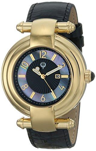 brillier women's 40mm black calfskin band steel case quartz mop dial analog watch 31-02