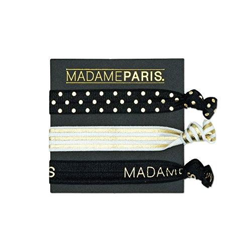 MadameParis - Haargummi - Haarband und Armband - Haargummi ohne Metall - Stark - Wiederverwendbares Haarzubehör (Mädchen-euro-boutique)