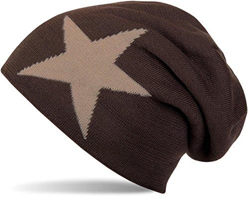 styleBREAKER warme klassische Strick Beanie Mütze mit Stern und sehr weichem Innenfutter, Unisex 04024026, Farbe:Dunkelbraun