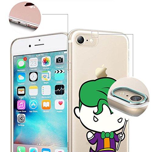 finoo | iPhone 8 Weiche flexible Silikon-Handy-Hülle | Transparente TPU Cover Schale mit Motiv | Tasche Case Etui mit Ultra Slim Rundum-schutz |Flash logo Joker chibi front