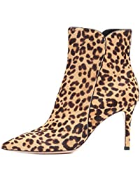 Botas Tacón Alto Leopardo Zapatos Otoño Invierno Cortas,MWOOOK-07 Señoras Plataforma Zapatos Altos