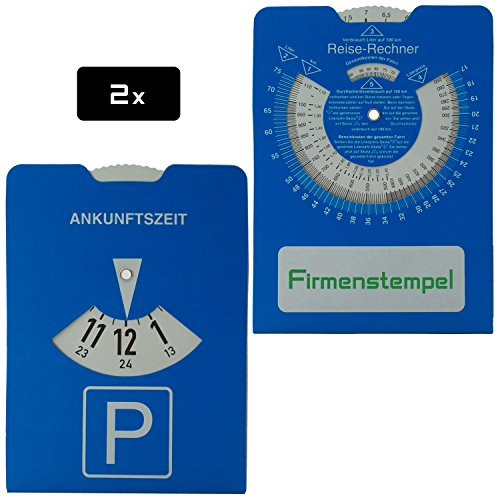 2x Parkscheibe aus Karton für PKW | Reiserechner für Benzinverbrauch und Stempelfeld auf der Rückseite | 11 x 15 cm | Stabile Ausführung