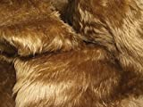 CRS Fur Fabrics Plain Fun Piel sintética Tela Material antílope marrón