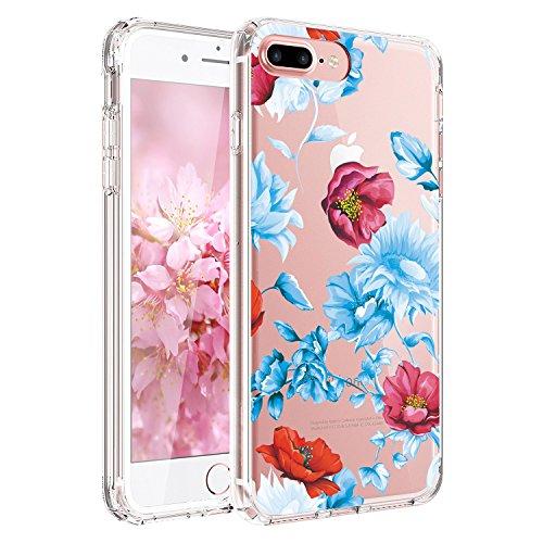 iPhone 7 Plus Hülle, iPhone 8 Plus Hülle,JIAXIUFEN TPU Silikon Schutz Handy Hülle Handytasche HandyHülle Etui Schale Schutzhülle Case Cover für Apple iPhone 7 Plus / iPhone 8 Plus - Pink Purple Rose Blue Red Flowers