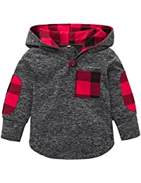SHOBDW Boys Tops, Kid Girl Fashion Splicing Plaid Hoodie Pocket Spring Winter Warm Sweatshirt Pullover Toddler Baby Clothes
