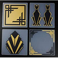 Art Deco Art Moderne Design Coasters Black & Gold Screen Printed Translucent Frosted Re-Purposed Plastic
