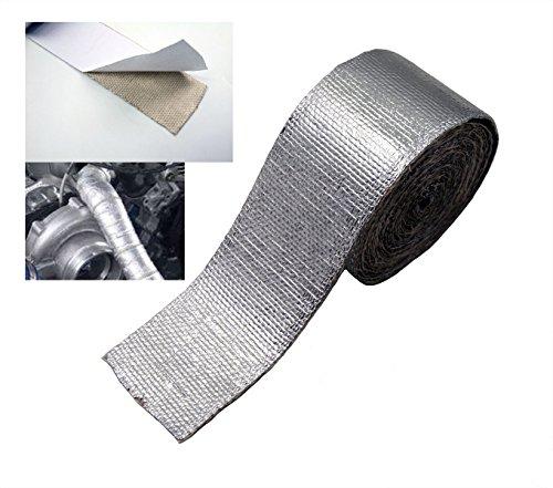 """SUNDELY® Silber Glasfaser Hitzeschutzband Selbstklebende 50mm breit X 4.5m (2"""" X 15') Auspuff Band Heat Wrap Krümmer Turbo"""