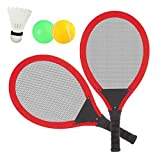 Dreamon Jeu De Raquettes Tennis Badminton Set, 3 in 1 Jouet de Plage en Plein air pour 3 4 5 Ans (Rouge)