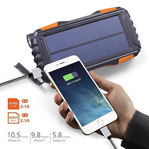 Eignet High Capacity 25000mAh Solar Power Bank for Trekking, Climbing, Tour, Journey, Trips (Orange) Image 5