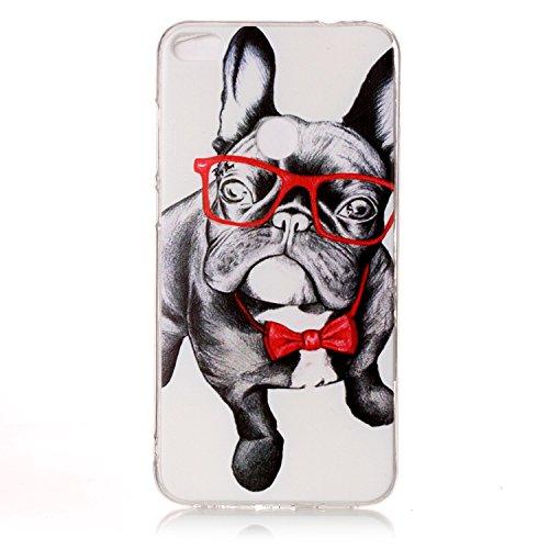 Coque Huawei P8 Lite 2017 , Etui Coque TPU Slim Housse Cover avec Chat Motif mode Bumper pour Huawei P8 Lite 2017 (5.2 pouces) Souple Housse de Protection Flexible Soft Case Cas Couverture Anti Choc M Chien