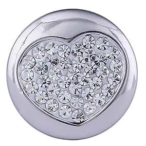 Morella Damen Click-Button Druckknopf Herz mit weißen Zirkoniasteinen