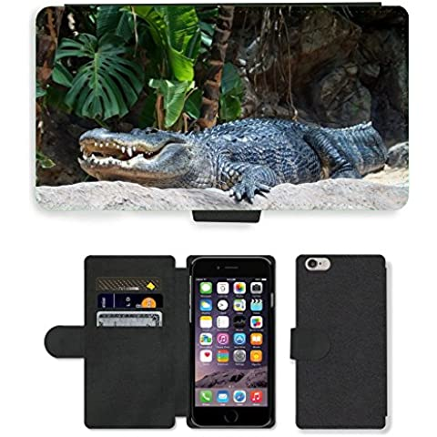 PU Flip Carcasa Funda de Cuero Piel Cubre Case // M00111365 Dente coccodrillo Rettile Animale // Apple iPhone 6 4.7