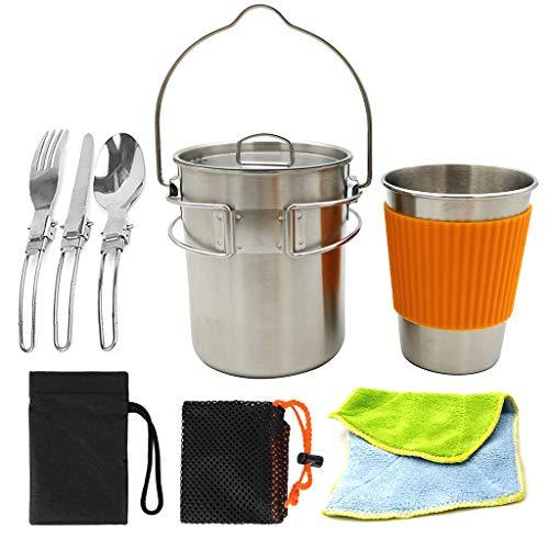 DGSFES Camping Kochgeschirr Set, Edelstahl Camping Pot Cup mit Protector, Gabel Löffel Set mit Einkaufstasche, Ideal für Picknick Rucksäcke, Outdoor Wandern und Wandern Gabel Cup Set