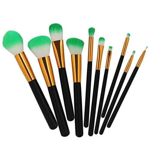 Moonuy 10PCS Pinceau de maquillage de poudre de visage a placé des outils de maquillage de beauté Make Up Foundation Eyebrow Eyeliner Beauty Pinceaux Professionnels Maquillage (NoirA)