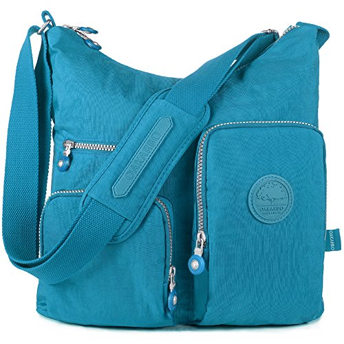 Oakarbo, Borsa a tracolla donna beige 940 Camel 1204 Turquoise blue
