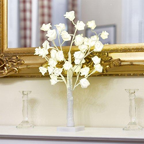 Baumlicht aus Zweigen einer künstlichen weißen Rose, mit 32 LEDs, Warmweiß, von Vinsani