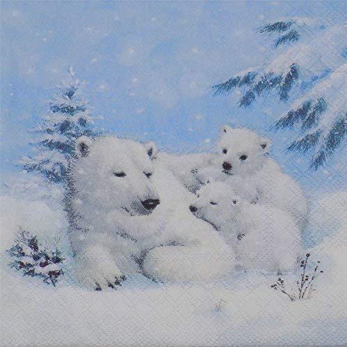 hiver polaire ours bleu blanc 3-ply 20 Papier Serviettes de table 13 \
