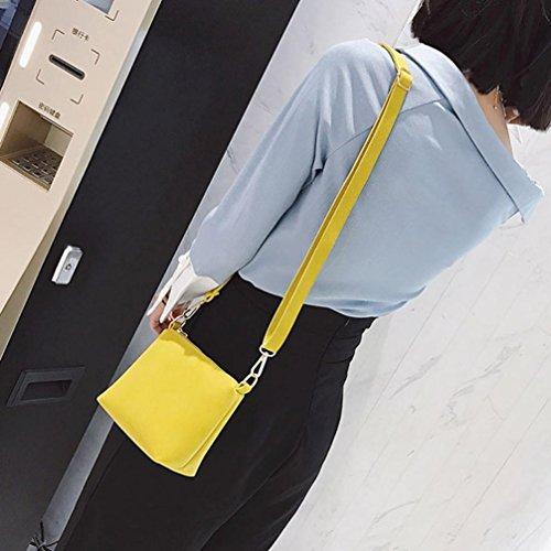 Donna 2 set borsa , feiXIANG Moda cuoio del PU borse a due pezzi tote bag crossbody (Grigio) Giallo