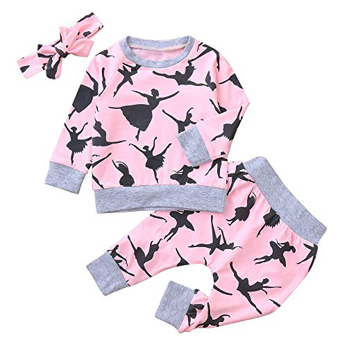 (Yanhoo Baby Bekleidungsset,Halloween Kostüm Outfits 3 Stück Baby Langarm Cartoon Charakter Druck Top T-Shirt Oberteile + Hosen +Haarband Jungen Mädchen Winter Kleidung Set)