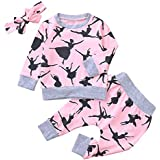 Binmer(TM) Fashion Baby Cotton Cartoon Print Full Sleeves Top Clothes+Pants+Headbands Set Outfit (3-24Month)