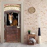 MYLOOO 3D Tür Wandbild Braun Pferdestall Tür Aufkleber Tapete Wand Print Aufkleber Wanddeko Wandbild Foto Selbstklebende 77X200Cm
