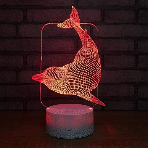 Luce Notturna 3D Illusione Ottica Led Lampada Delfino Interruttore Tattile Cambio 7 Colori Lampada Da Letto Per Camera Da Letto Per Bambini, Regali Per Feste Di Compleanno Per Bambini