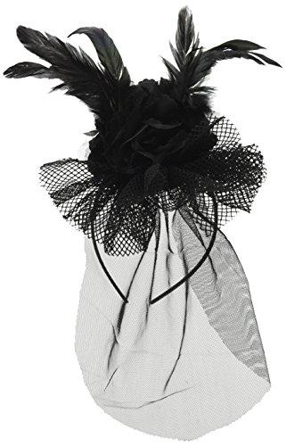 Amscan International Sombrero de la bruja diadema - fascinator con plumas, flores y velo