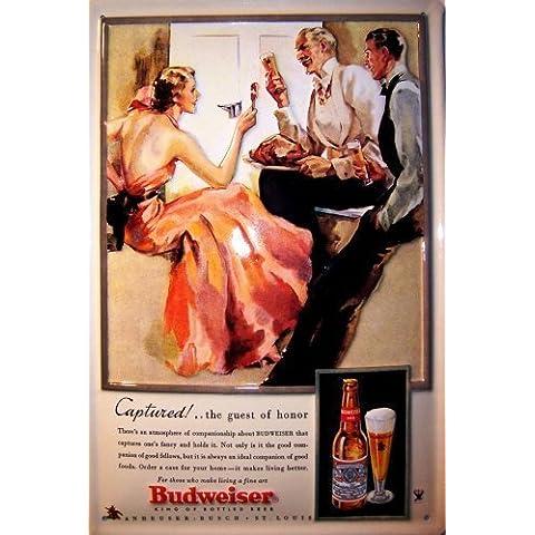 Budweiser catturato Targa latta Tin Sign visiera metallo 20 x 30 cm