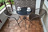 Conjunto de muebles de terraza de ratán y aluminio inoxidable (mesa + 2sillas), mesa con tablero de cristal...