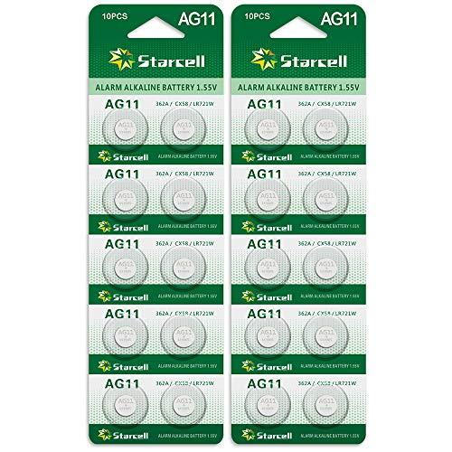 20 x Alkaline Knopfzellen ohne Quecksilber AG11/LR58/LR721/362/1,5 Volt, 10er-Pack