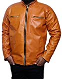 #4: Outlook collection Men Zip Up Stand Collar Leather Jacket Large Size Orange Color