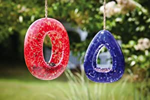 Red And Blue Speckled Glass Tear Drop Bird Feeder Set