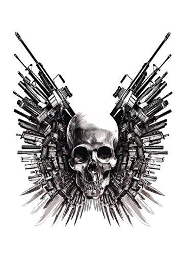 TLKXTX Schädel Pistole Schwert Punk Große Temporäre Tätowierung Aufkleber Wasserdicht Erwachsene Männer Frauen Schulter Gefälschte Tätowierungen 15X11 cm - Handgelenk Spielzeug Pistole