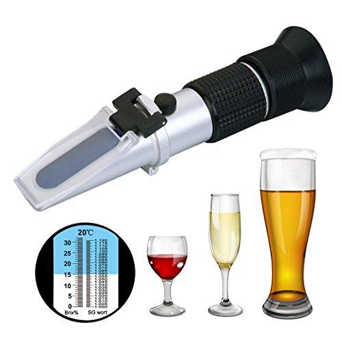 Risepro®, Refraktometer mit Dual-Skala für 0~ 32 {09fe1fa602ddbd747493cdfb32302a79b58718b8afbded31011ae97bb1b8810d} Brix und Stammwürze von 1,000bis etwa 1,120 für Wein oder Bier, aus Aluminium
