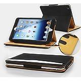 Jellybean PU Leather Wallet Flip Case Cover for iPad Mini - Black/Tan