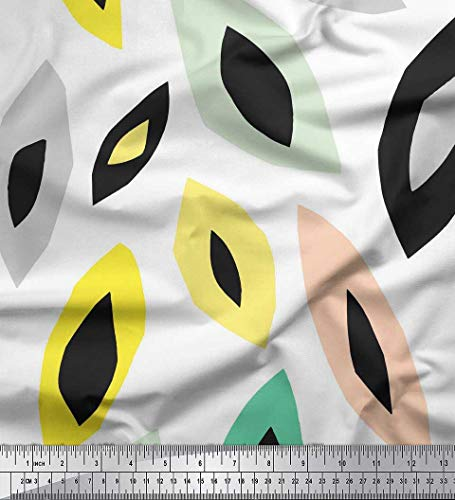 Soimoi Weiß Kunstseide Stoff Blätter kunstlerisch Drucken Nahen Stoff 1 Meter 42 Zoll breit