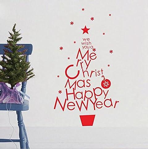 GT Autocollant mural, Arbre de Noël,sculptures,chambre à coucher,living,prix,flocon,fenêtre,verre,Mural Sticker