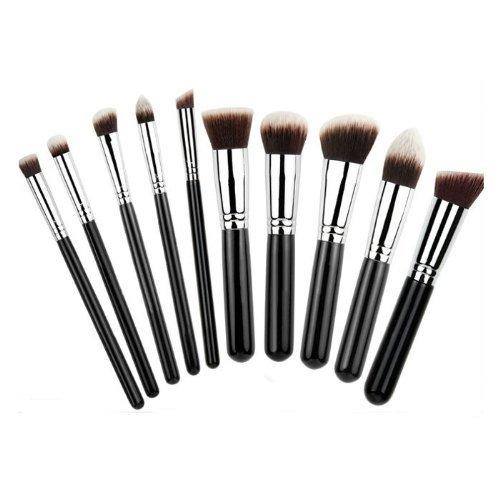 Davidsonne 10pc Pièce de luxe noir avec Chrome Argent Cuivre Make Up brosse Pinceaux pour visage et yeux