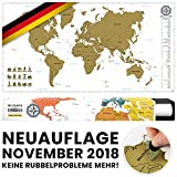 #benehacks -NEUAUFLAGE November 2018- Weltkarte zum Rubbeln in DEUTSCH - Rubbelweltkarte - Landkarte zum Freirubbeln (Farbe Gold/Weiß 84 x 44 cm, inkl. Geschenkverpackung)
