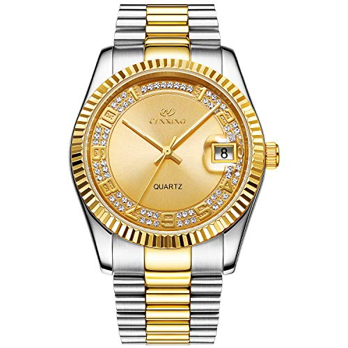 BUREI Luxus Herren Uhren Quarz Armbanduhr japanische Quarzwerk kratzfestes Synthetisches Saphirglas Edelstahl Band (Silber Gold 2)