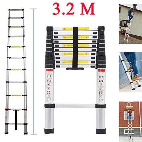 Teleskopleiter 3.2M Alu Leiter Ausziehbar Haushaltsleiter Teleskopleiter Aluminium Klappleiter Ausziehleiter Mehrzweckleiter -Maximale Belastbarkeit 150 kg