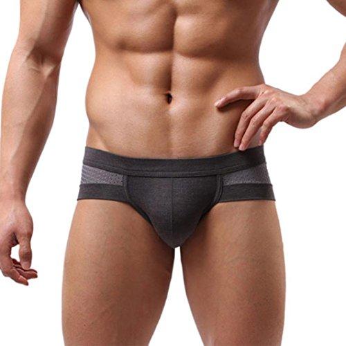 Neuheit-hosen-anzug (Sansee Männer sexy Cotton Unterwäsche Männer Boxer Unterhose Soft Slips (XXXL, grau))