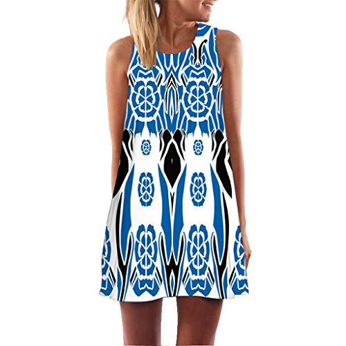 BHYDRY Frauen-Sommer-Sleeveless Boho-Druck beiläufige Strand-Weinlese-Art-(Medium,BlauA)