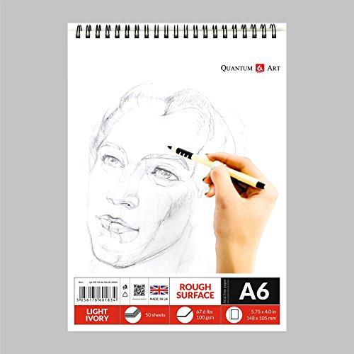 Carnet à croquis d'artiste à spirales A6 de couleur ivoire clair - 50 feuilles - 100 pages