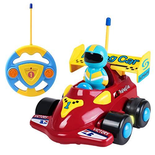 SGILE Ferngesteuertes Auto Kinder, RC Rennauto mit Licht- und Soundfunktion, Spielzeugauto Rennfahrer Cartoon Wagen für Kleinkinder und Kinder Geschenk