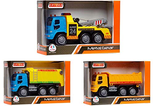 GLOBO, Die Cast Trucks Pull Back 4Ass. (37132), Multicolor (1)