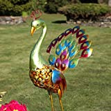Multicolour Peacock - 71cm - Solar Powered - Colour Changing LEDs - Outdoor by Festive Lights