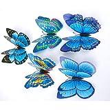 12 Stück 3D Schmetterlinge Wandsticker Kühlschrankaufkleber Haus Dekoration Wandtattoo Wandaufkleber Butterfly Wandsticker 3D Wanddeko Aufkleber Wandbilder Balkon Deko Wohnzimmer Rovinci